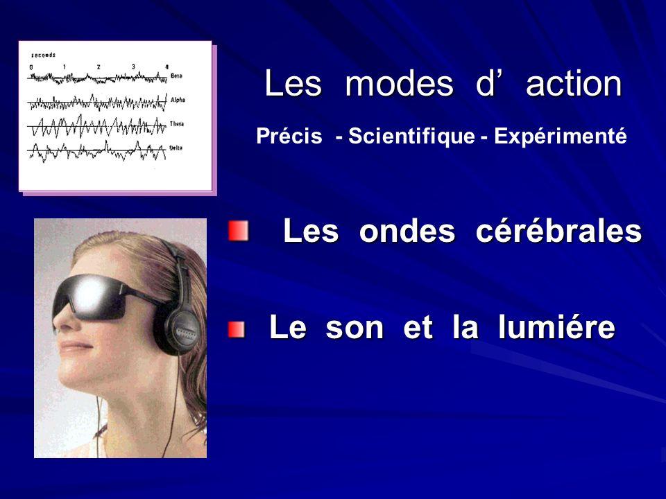 Les modes d' action Les ondes cérébrales Le son et la lumiére
