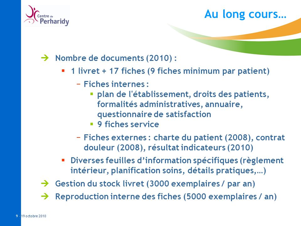 Au long cours… Nombre de documents (2010) :