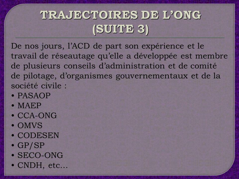 TRAJECTOIRES DE L'ONG (SUITE 3)