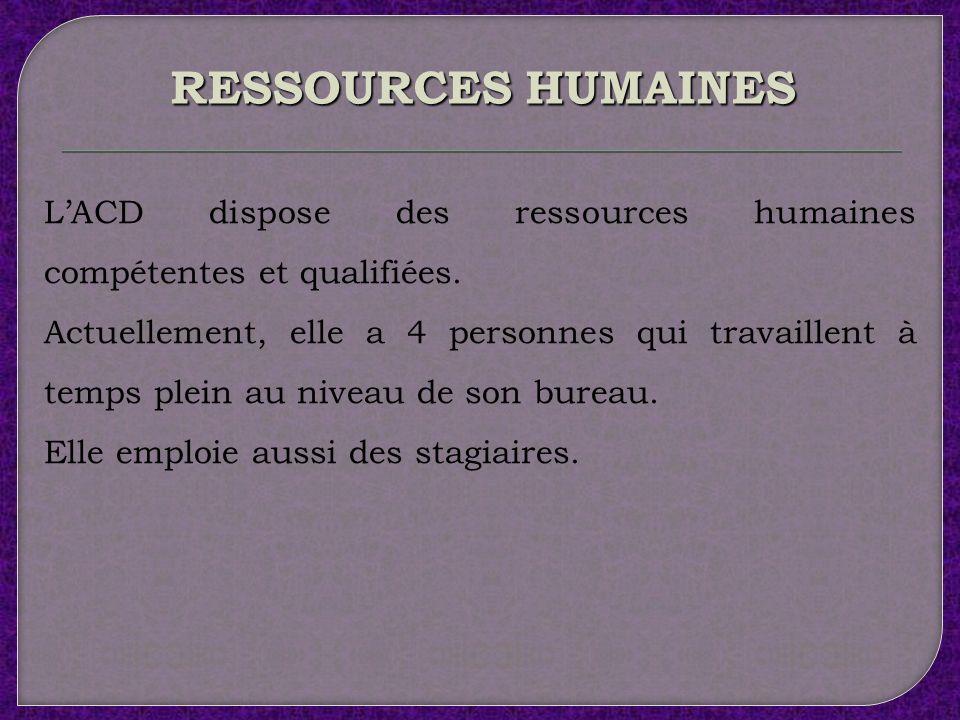 RESSOURCES HUMAINES L'ACD dispose des ressources humaines compétentes et qualifiées.