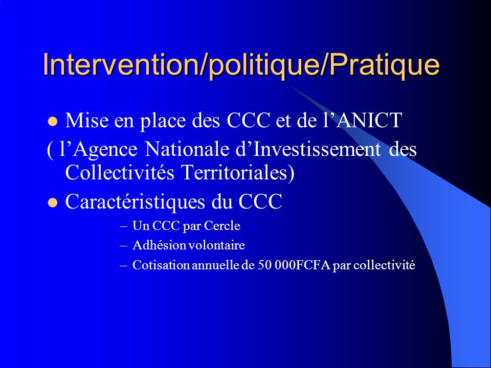 Intervention/politique/Pratique