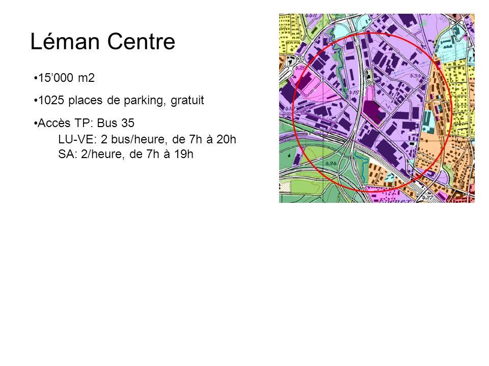 Léman Centre 15'000 m2 1025 places de parking, gratuit