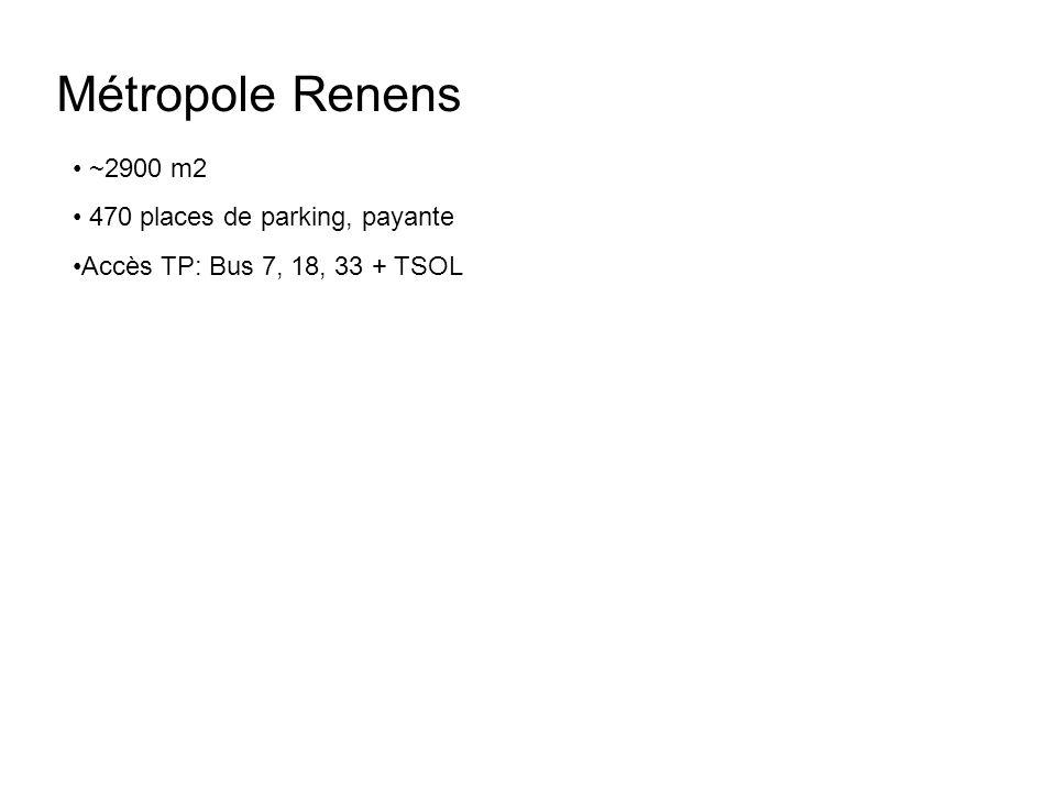 Métropole Renens ~2900 m2 470 places de parking, payante