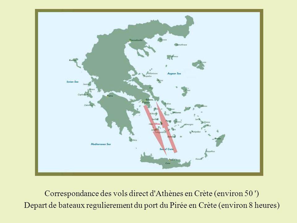 Correspondance des vols direct d Athènes en Crète (environ 50 )