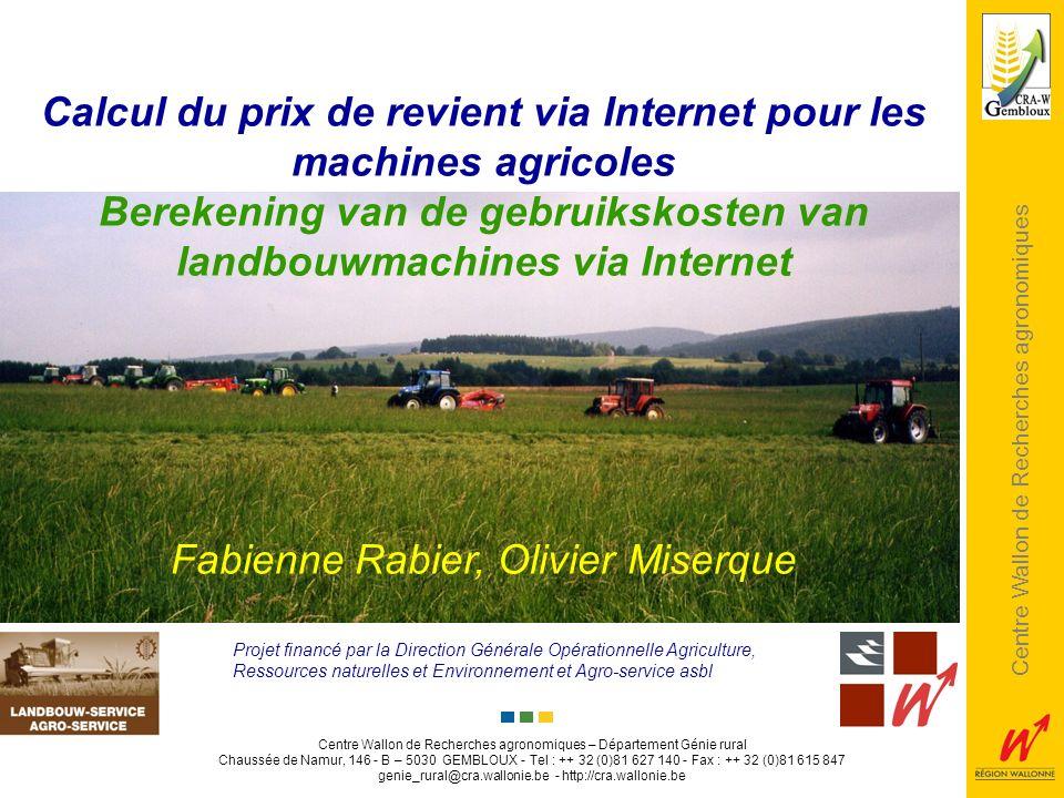 Calcul du prix de revient via Internet pour les machines agricoles