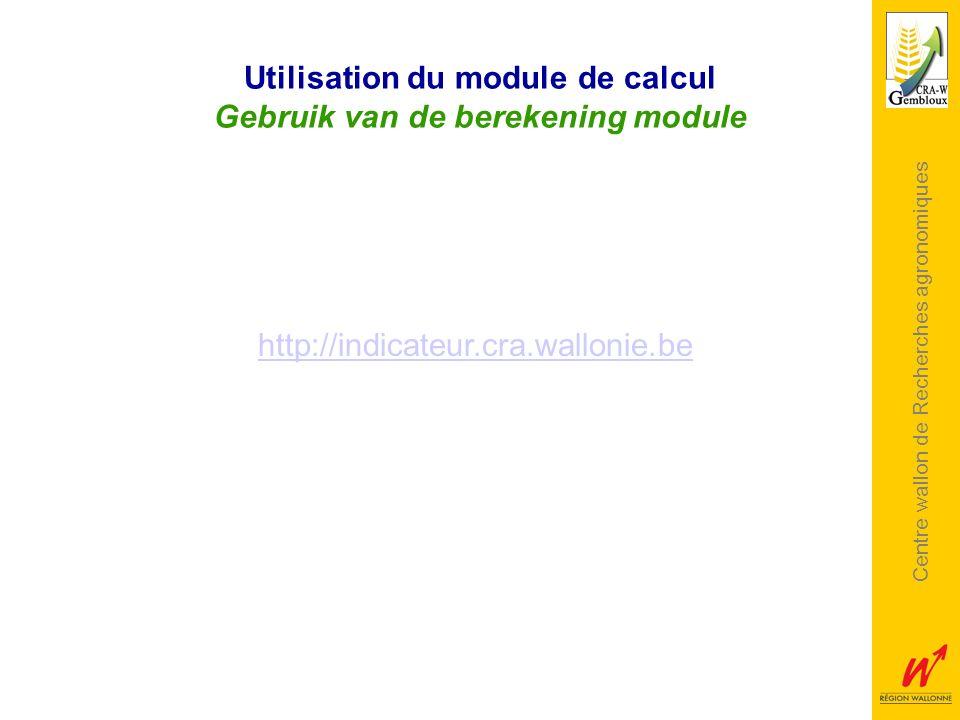 Utilisation du module de calcul Gebruik van de berekening module