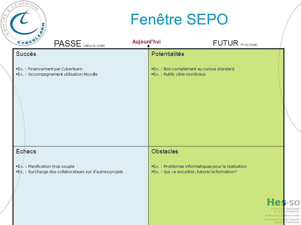 Fenêtre SEPO PASSE (début du projet) FUTUR (fin du projet) Succès
