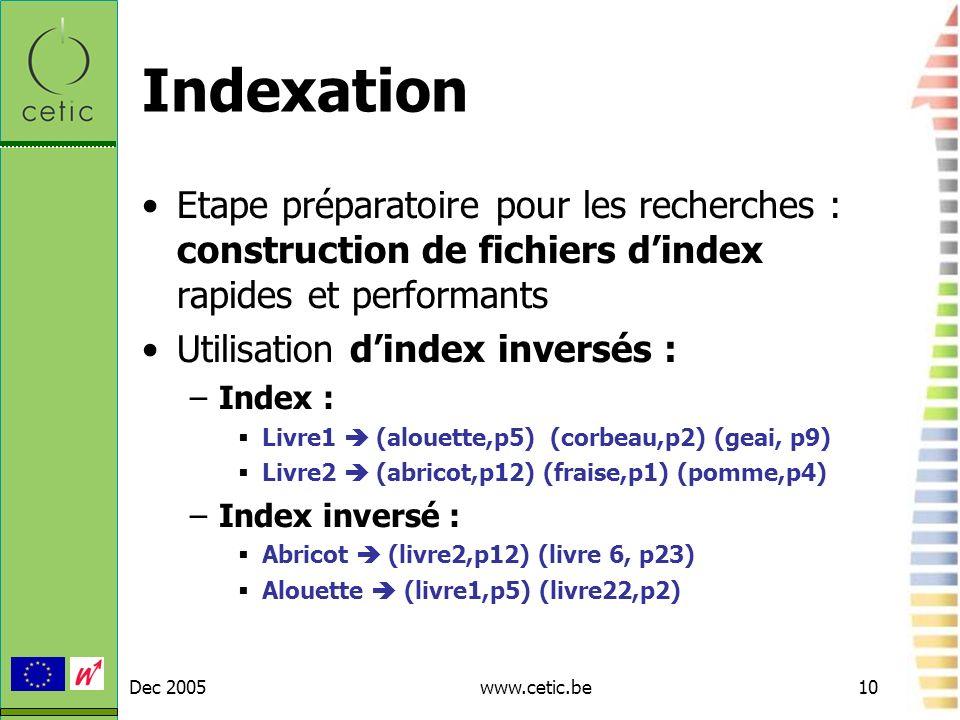 Indexation Etape préparatoire pour les recherches : construction de fichiers d'index rapides et performants.