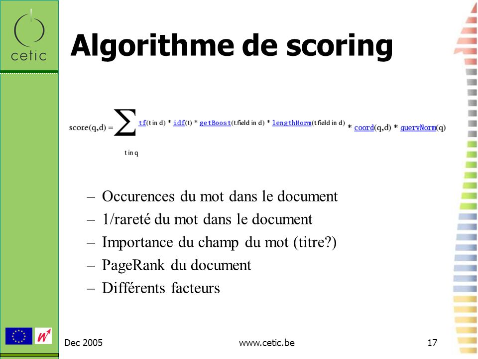 Algorithme de scoring Occurences du mot dans le document