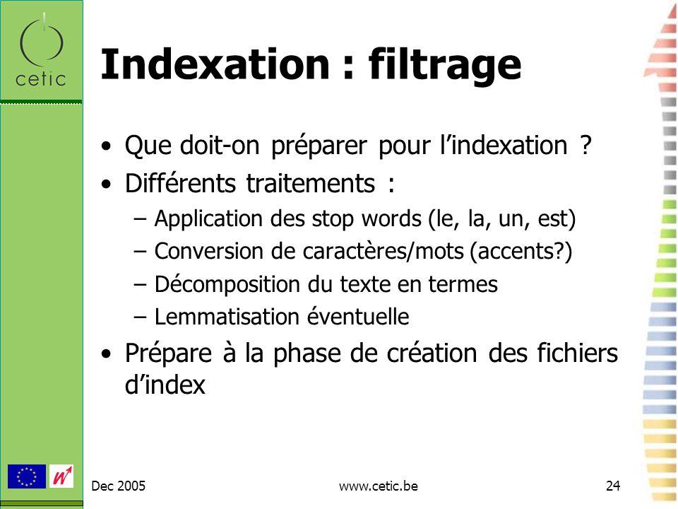 Indexation : filtrage Que doit-on préparer pour l'indexation