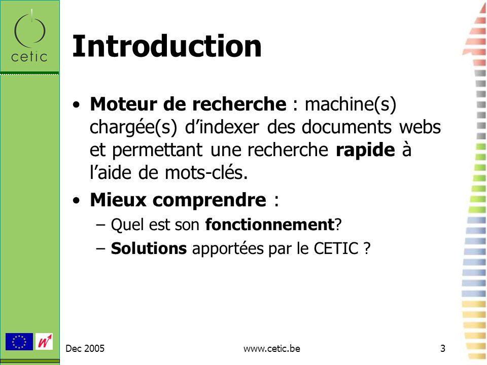Introduction Moteur de recherche : machine(s) chargée(s) d'indexer des documents webs et permettant une recherche rapide à l'aide de mots-clés.