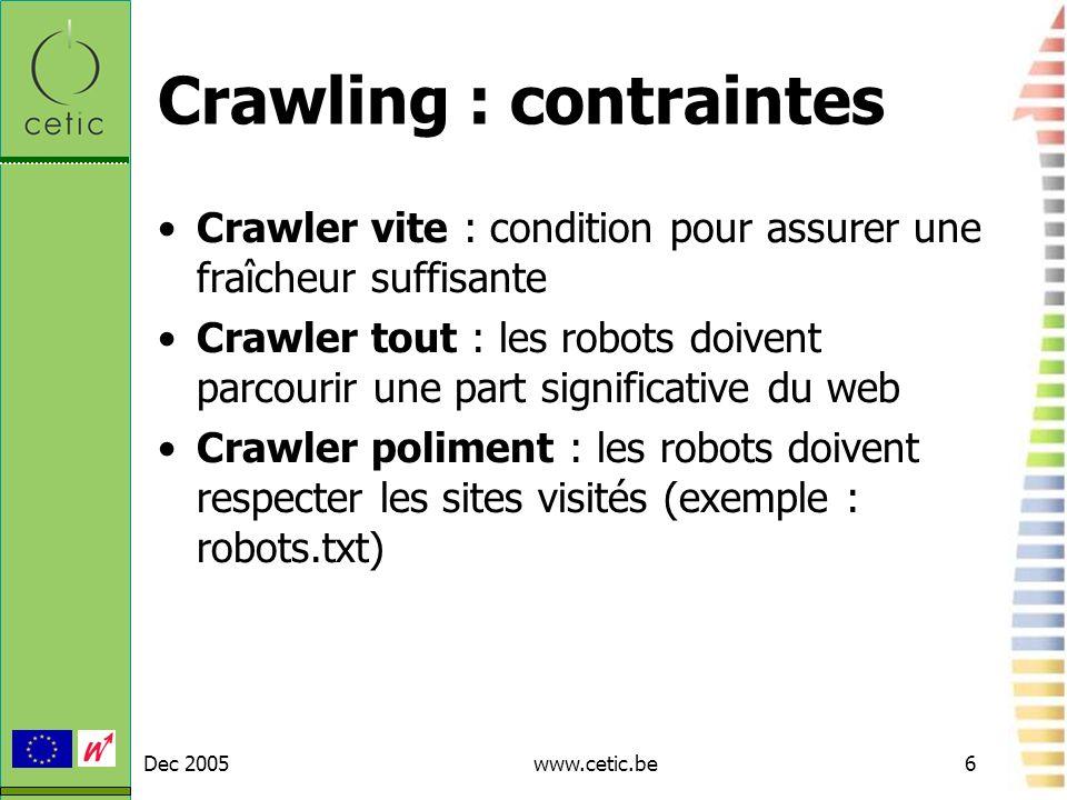 Crawling : contraintes