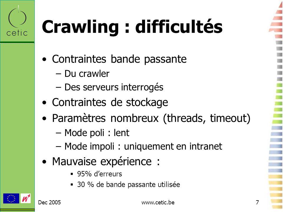 Crawling : difficultés
