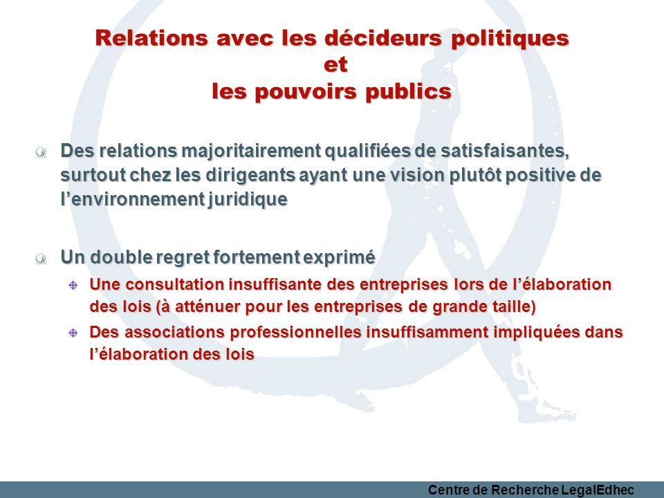 Relations avec les décideurs politiques et les pouvoirs publics