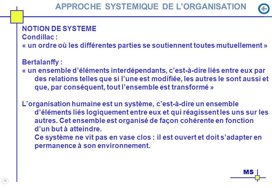 APPROCHE SYSTEMIQUE DE L'ORGANISATION