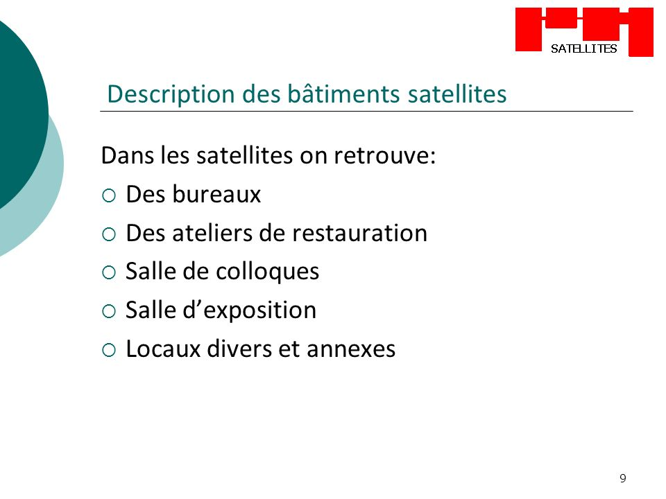 Description des bâtiments satellites