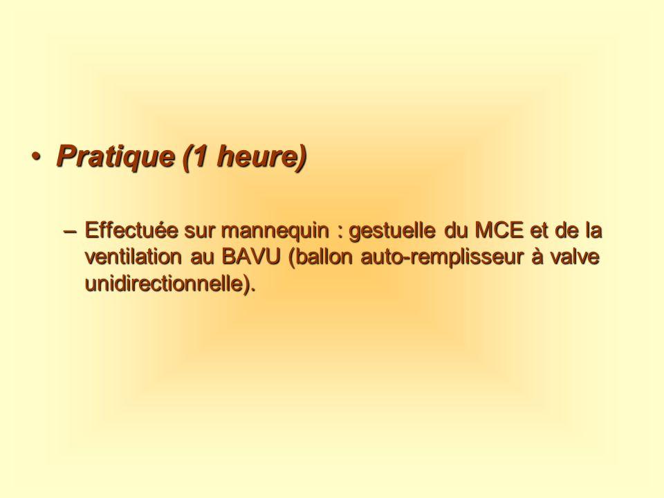 Pratique (1 heure) Effectuée sur mannequin : gestuelle du MCE et de la ventilation au BAVU (ballon auto-remplisseur à valve unidirectionnelle).