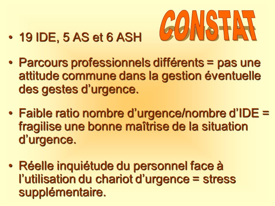 CONSTAT 19 IDE, 5 AS et 6 ASH. Parcours professionnels différents = pas une attitude commune dans la gestion éventuelle des gestes d'urgence.