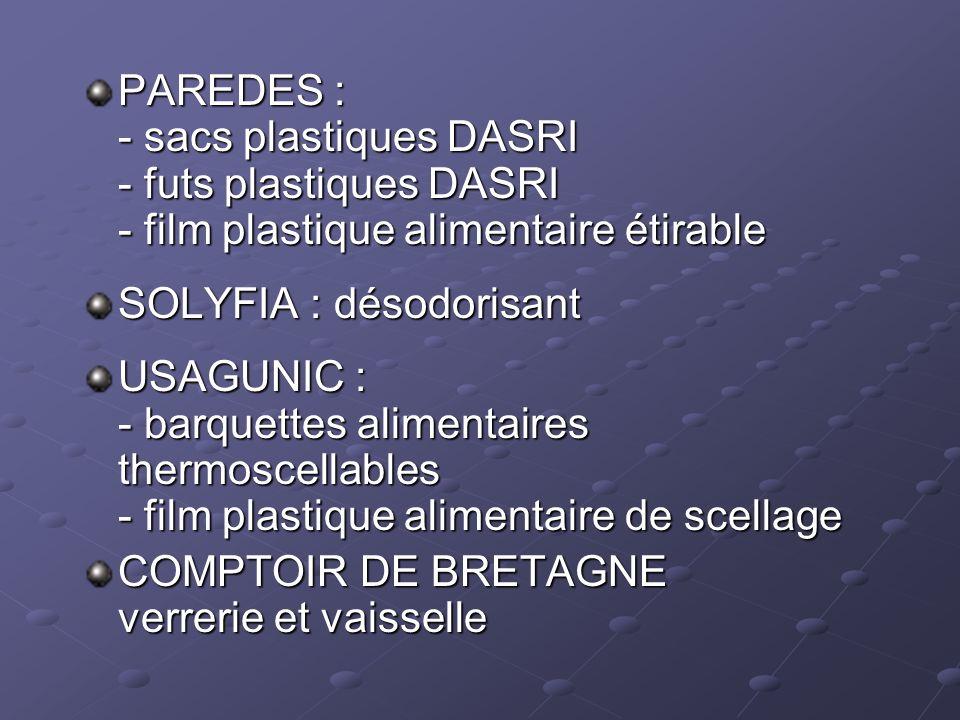 PAREDES : - sacs plastiques DASRI - futs plastiques DASRI - film plastique alimentaire étirable