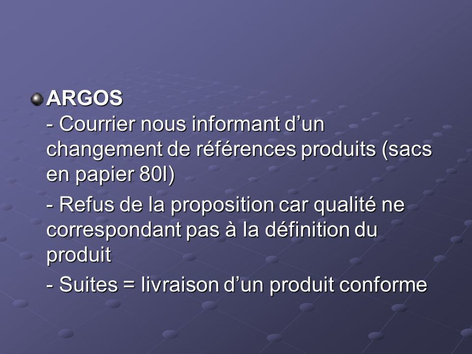 ARGOS - Courrier nous informant d'un changement de références produits (sacs en papier 80l)