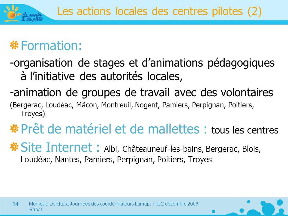 Les actions locales des centres pilotes (2)