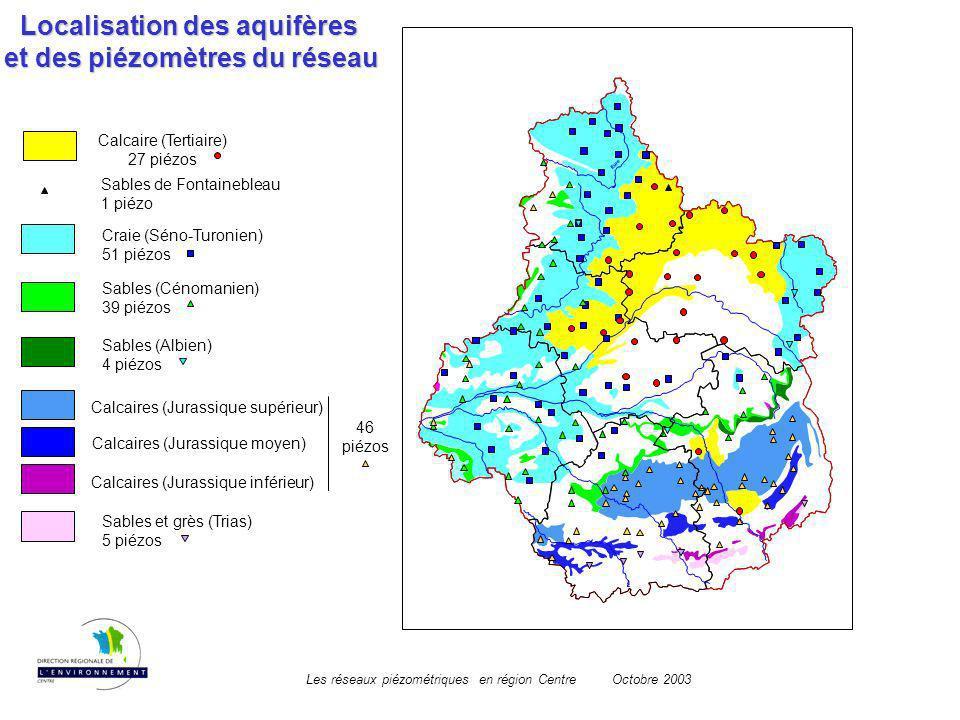 Localisation des aquifères et des piézomètres du réseau