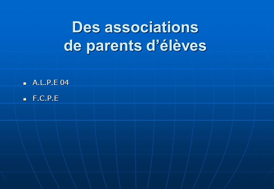 Des associations de parents d'élèves