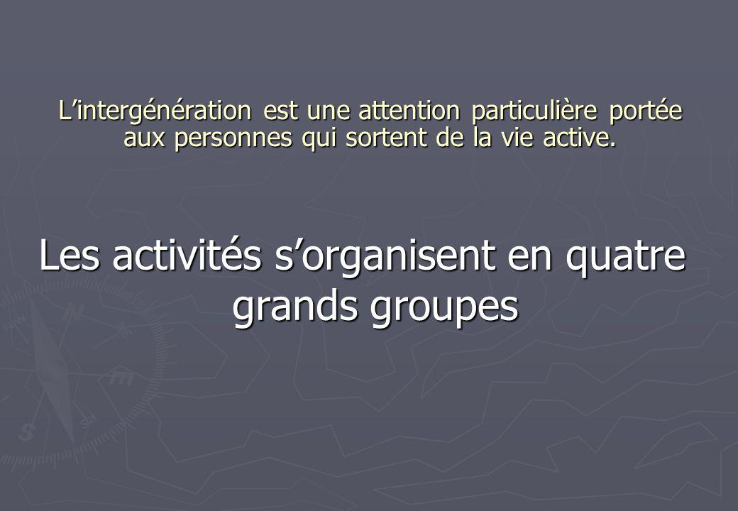Les activités s'organisent en quatre grands groupes
