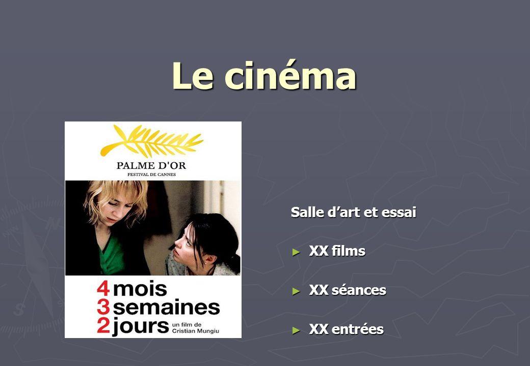 Le cinéma Salle d'art et essai XX films XX séances XX entrées