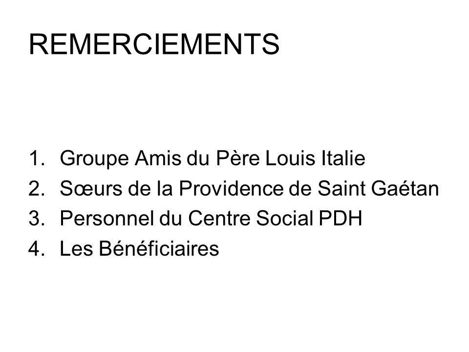 REMERCIEMENTS Groupe Amis du Père Louis Italie
