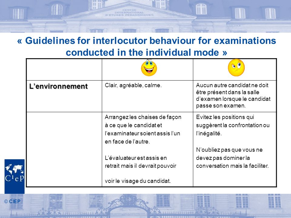 « Guidelines for interlocutor behaviour for examinations conducted in the individual mode »