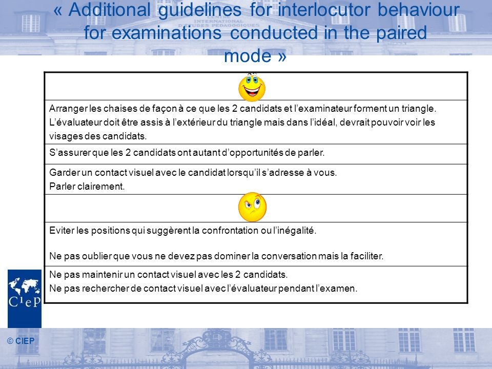 « Additional guidelines for interlocutor behaviour for examinations conducted in the paired mode »
