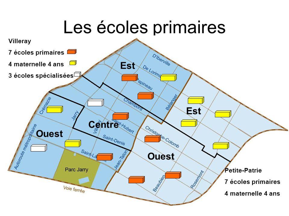 Les écoles primaires Est Est Centre Ouest Ouest Villeray