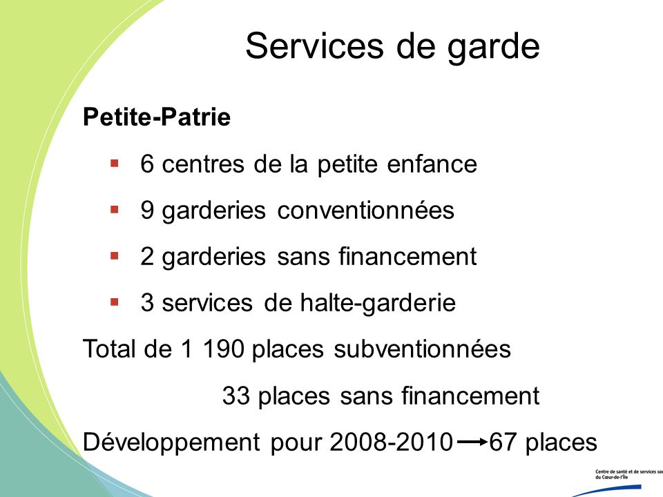 Services de garde Petite-Patrie 6 centres de la petite enfance