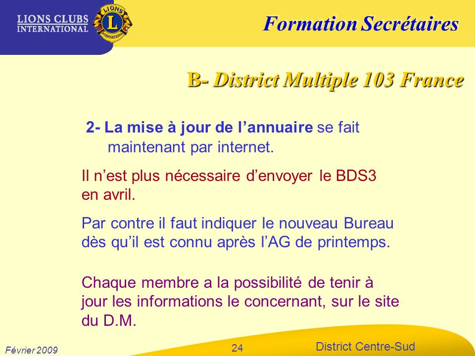 B- District Multiple 103 France