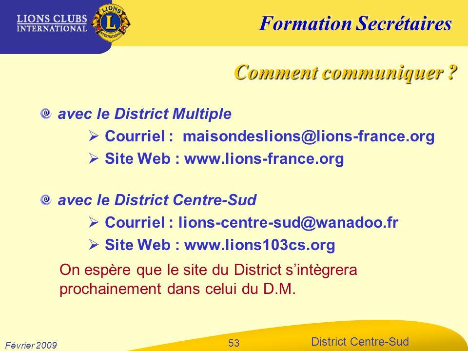 Comment communiquer avec le District Multiple