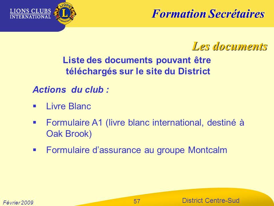 Liste des documents pouvant être téléchargés sur le site du District
