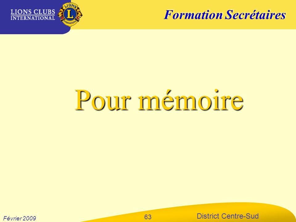 Pour mémoire Février 2009 xxxxxx