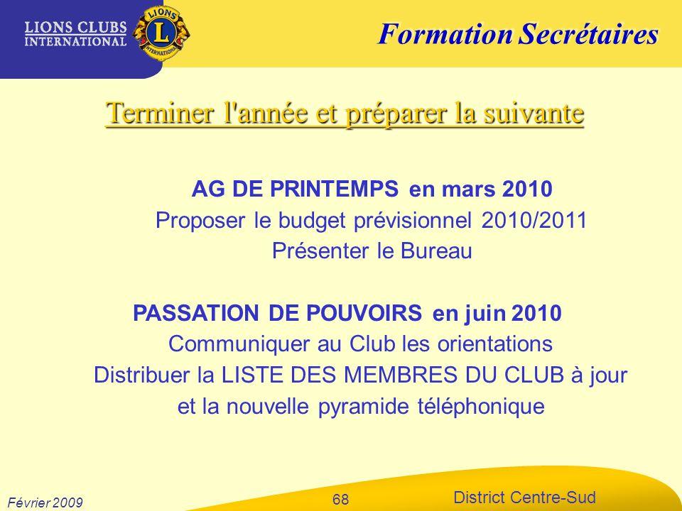 PASSATION DE POUVOIRS en juin 2010
