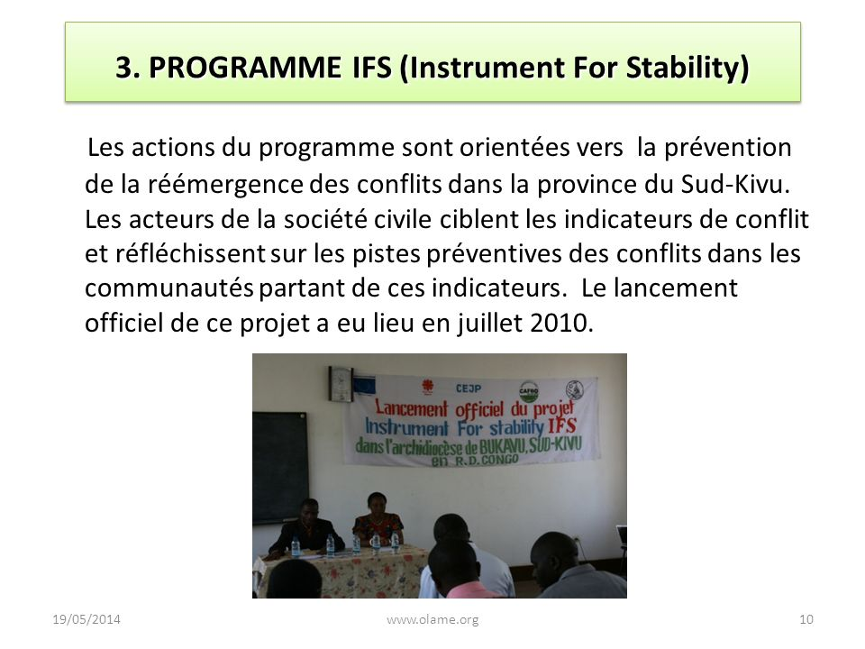 3. PROGRAMME IFS (Instrument For Stability)