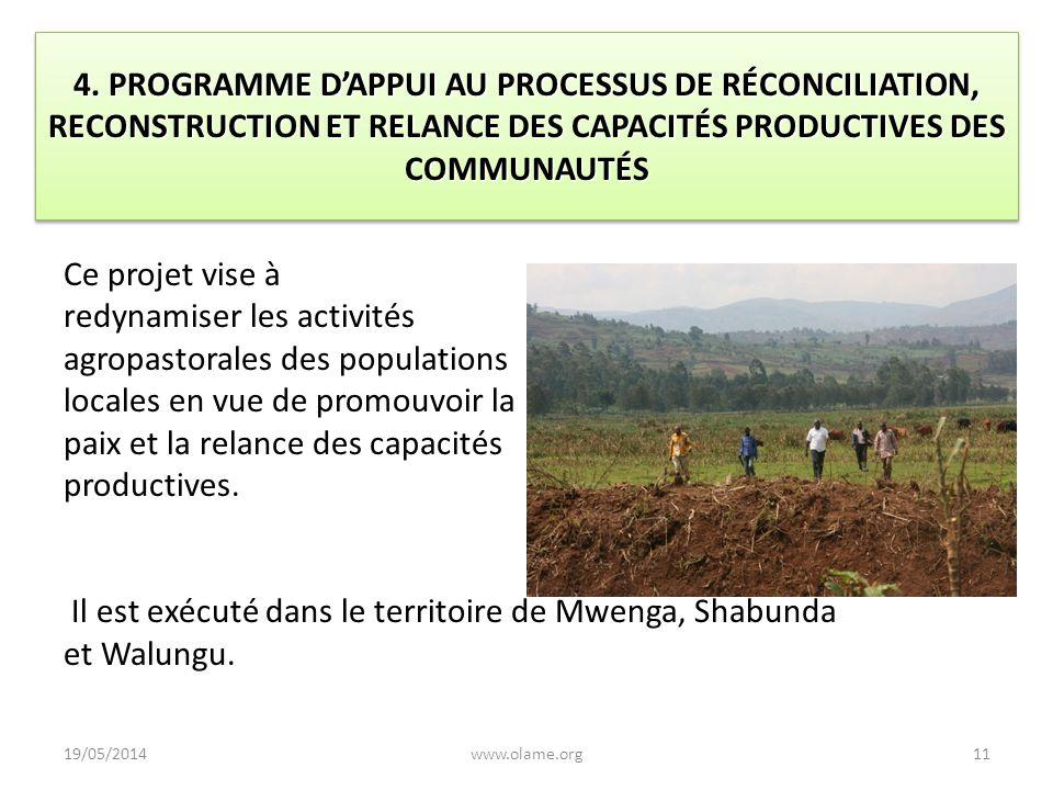 4. PROGRAMME D'APPUI AU PROCESSUS DE RÉCONCILIATION, RECONSTRUCTION ET RELANCE DES CAPACITÉS PRODUCTIVES DES COMMUNAUTÉS