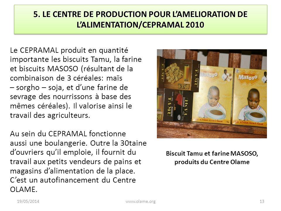 Biscuit Tamu et farine MASOSO, produits du Centre Olame