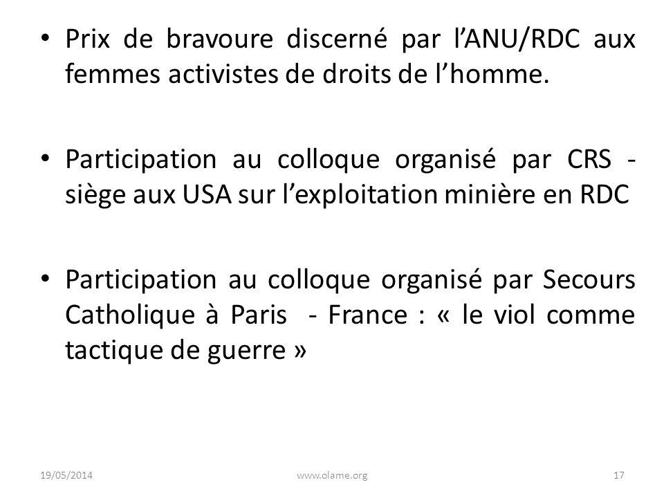 Prix de bravoure discerné par l'ANU/RDC aux femmes activistes de droits de l'homme.