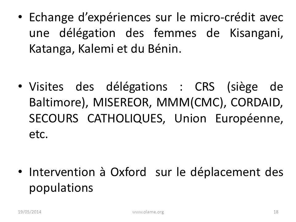 Intervention à Oxford sur le déplacement des populations