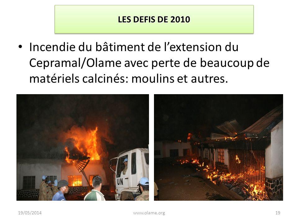 LES DEFIS DE 2010 Incendie du bâtiment de l'extension du Cepramal/Olame avec perte de beaucoup de matériels calcinés: moulins et autres.