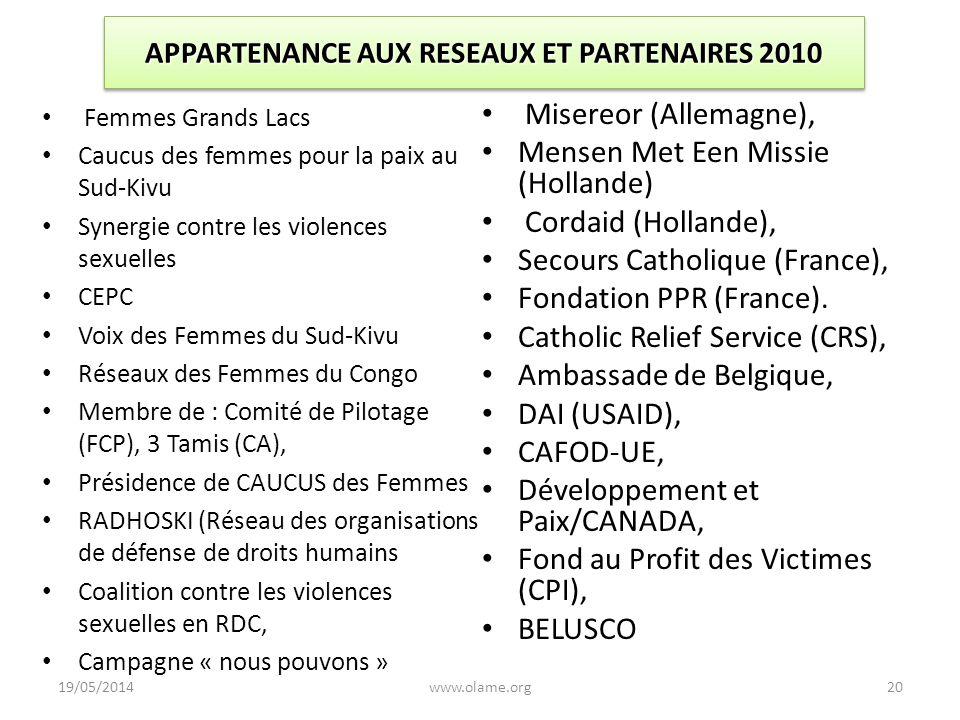 APPARTENANCE AUX RESEAUX ET PARTENAIRES 2010