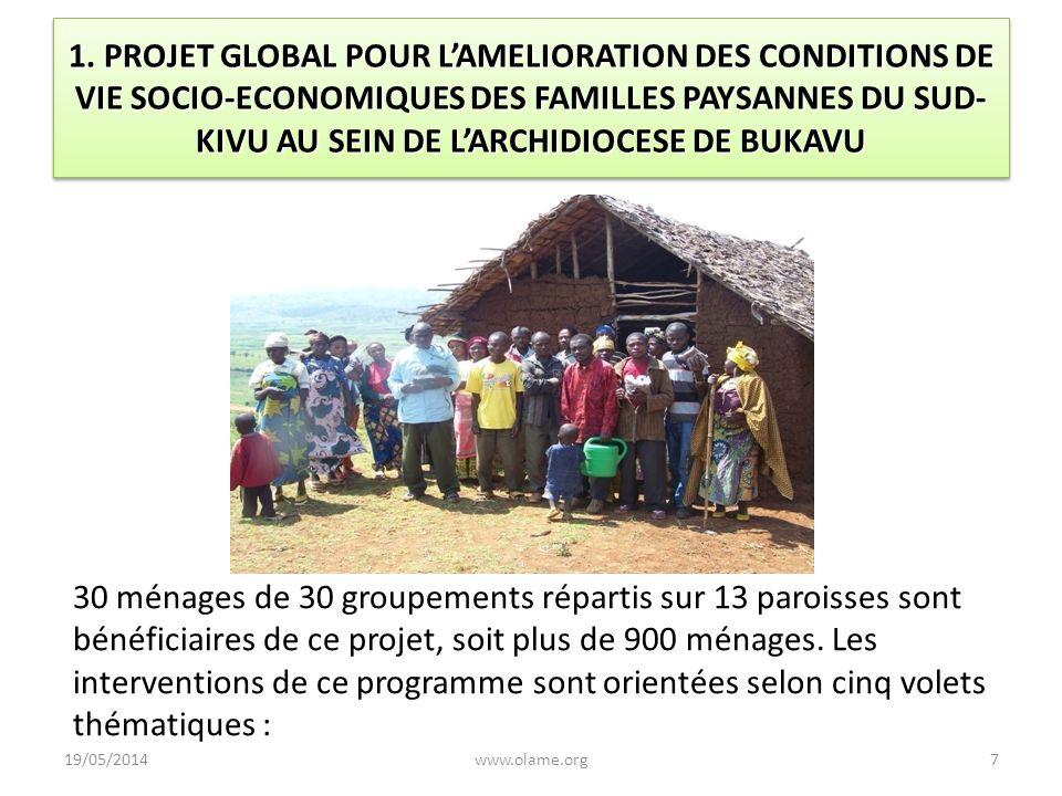 1. PROJET GLOBAL POUR L'AMELIORATION DES CONDITIONS DE VIE SOCIO-ECONOMIQUES DES FAMILLES PAYSANNES DU SUD-KIVU AU SEIN DE L'ARCHIDIOCESE DE BUKAVU