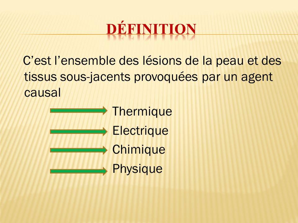 définition C'est l'ensemble des lésions de la peau et des tissus sous-jacents provoquées par un agent causal.