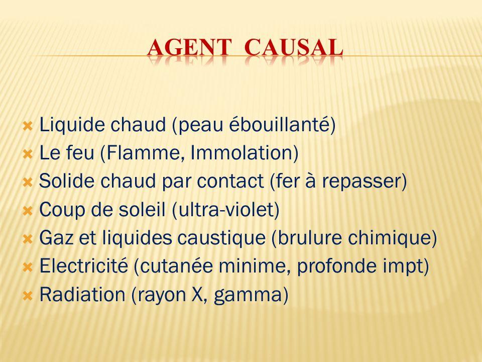 AGENT CAUSAL Liquide chaud (peau ébouillanté)