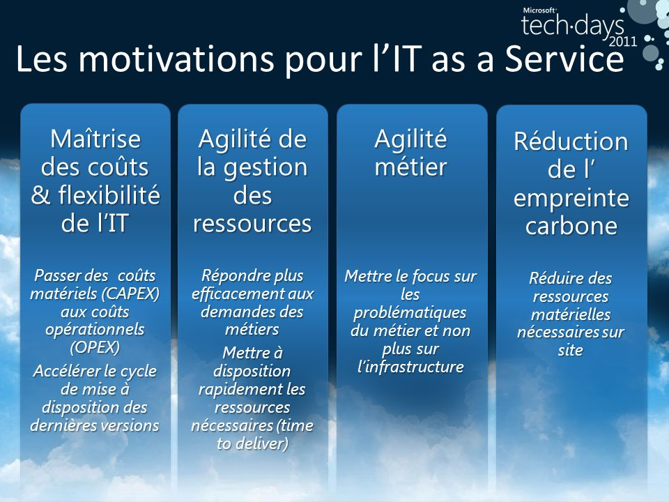 Les motivations pour l'IT as a Service